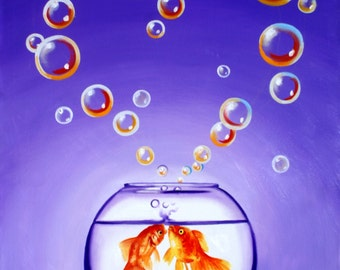 Goldfish, bubbles illusion, oil painting 40x30 (101.6 x 76.2 cm) by RUSTY RUST / F-53