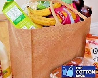 Jute Hessian Shopper Bags Plain - Promo - Gift - Craft - Shopping. Laminated Inside. 100% Waterproof. ( Pack of 5 )