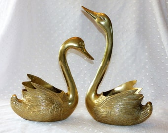 Hollywood Regency Large Brass Swan Planters/Brass Swans/ Brass Planters/Vintage