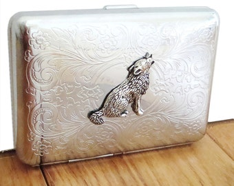 Wolf Cigarette Case or Business Card Holder. Scrolly Ornate Pattern.