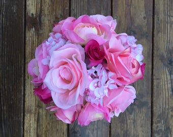 Pink rose and hydrangea bouquet with matching boutonnière