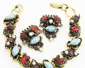 Aqua and Red Molded Glass Bracelet and Earrings Set