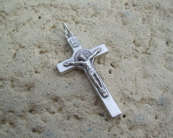Silvertone St. Benedict Crucifix pendant, for Rosary or for necklace