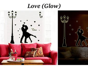 FREE shipping -Glow in dark - Art Wall Decal Wall Sticker - love