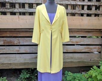 Discounted Vintage 1960s sunshine yellow three button formal evening jacket Jackie Kennedy style