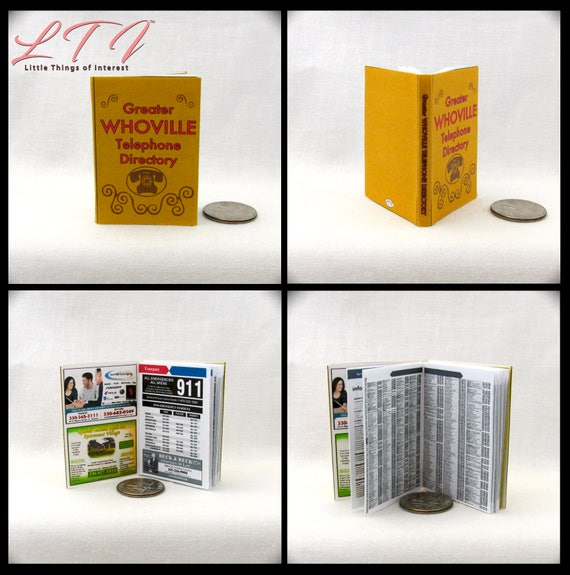 WHOVILLE PHONE BOOK in 1:6 Scale Book Miniature Book Dr. Seuss Blythe Barbie Scale How Grinch Stole Christmas Movie