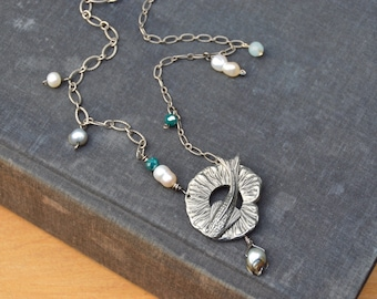 Koi, water lily, and pearl toggle necklace. Water garden themed necklace