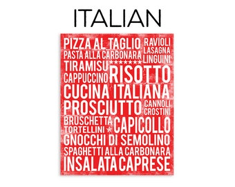 Italy Poster - Italian Poster - Italy Wall Art - Italian Food Subway Art Print - Italian Food Poster - Italy Wall Decor