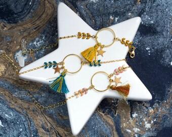 Bracelet HYDRA - émaillée avec anneau, étoile et pompon jaune moutarde