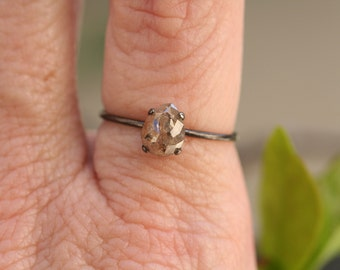 Rose Cut Old Mine Diamond Ring / Black Sterling Silver / Ready to Ship, Size 6.5 / Natural, Stacking, Delicate, Solitaire, Small, Unique