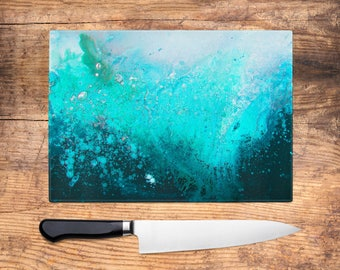 Teal Glass Chopping Board   Teal Turquoise U0026 Black Abstract Worktop Saver,  Platter, Large Cutting Board, Kitchen Gift, Kitchen Accessories
