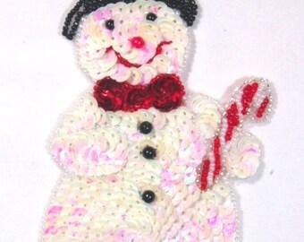 "0107  Snowman Sequin Beaded  Applique 6"""