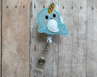 Narwhal Badge Clip ID Holder, Light Blue Embroidered Vinyl, Retractable Narwhal Badge Reel, Choice of Clip Style, Marine Animal, Made in USA