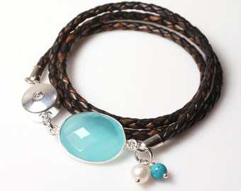 Womens Wrap Bracelet / Brown Leather Bracelet with Gemstones / Triple Wrap Gemstone Bracelet / Angelina