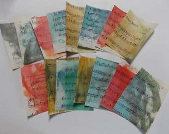 Distressed music sheets mixed media collage