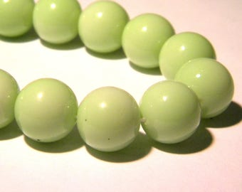 10 fired-12 mm - smooth and shiny glass beads - seagreen bright K58 3