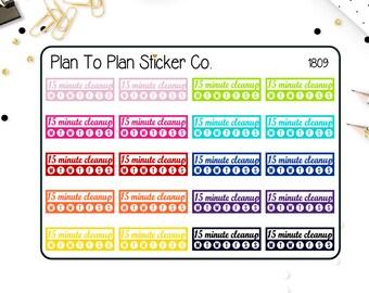 1809~~15 Minute Cleanup Checklist Tracker Planner Stickers.
