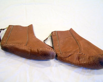 Vintage leather moccasins, zip up the back