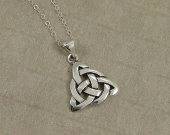 Celtic Trinity Knot Necklace, Sterling Silver Celtic Symbol Charm on a Silver Cable Chain