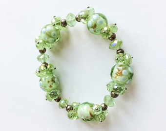 Murano Glass Bracelet, Green Bead, Stretch, Vintage Jewelry SALE