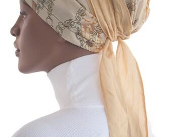 Schal Tichel Sinar Schürze Gold Off White Eadcovering Chemo wickeln Schal afrikanischen wickeln handgefertigt