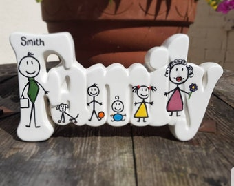 Personalised Ceramic Family Plaque Family Gift Wall Art Gift Christening Gift Quirky Gift Personalized Plaque