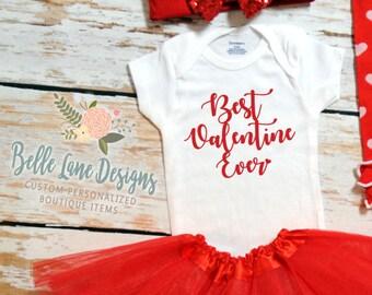 Best Valentine Ever Baby Girl Valentine Onesie   Baby Girl Valentine Shirt    Valentine Onesie   Baby First Valentine   157
