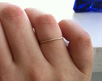 18g 1mm Rope Textured 14k Gold Fill Stacking Ring Thin Band  - custom made to order - Ready to Ship