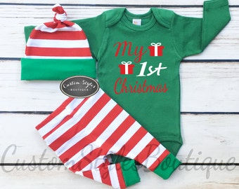 Baby Boys Christmas Outfit, My 1st Christmas, Red and White Striped Leggings And Hat With Green Cuffs,Baby Boys Christmas Outfit
