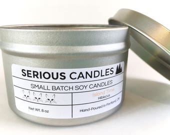 Hibiscus Scented Soy Candle in  8oz Tin - Island Time - Vegan Gift for Wife - Tropical Candle - Cruelty Free Candle - Made in Oregon - PNW
