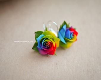 Rainbow roses earrings , Polymer clay rainbow rose, Handmade rose earrings, Tie Dye rose earrings, Tie Dye wedding, Multicolor clay roses