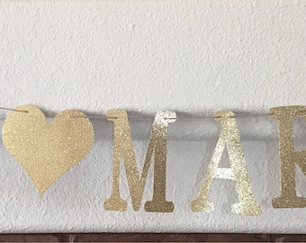 Just Married Gold Glitter Banner- Wedding Party Decoration- Wedding Reception Decoration- Just Married Banner- Photo Prop Banner