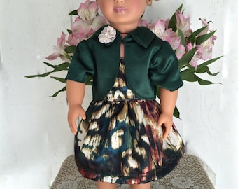 Strapless satin doll dress and doll jacket in bold beautiful colors for 18 inch dolls. Doll Clothing for 18 inch dolls. Doll outfit.