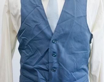 Men's Suit Vest / Vintage Blue Vest / Size 36/Small
