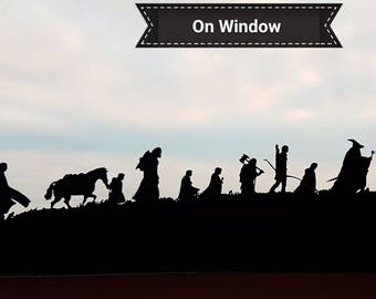 Lord of the Rings the Fellowship silhouette 22cm black Vinyl Sticker Decal LotR Very high detail