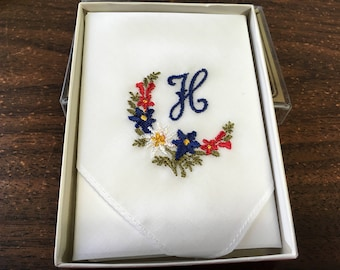 "Vintage 80's "" EMBROIDERED HANDKERCHIEF"" with the Letter H - Boxed Souvenir Hankie"