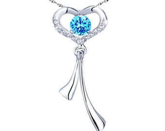 "Mabella PWS011CT Blue Topaz 0.56Ct Pendant Necklace .925 Sterling Silver with 18"" Chain"