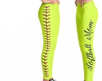 Softball Mom Leggings-Leggings for Mom-Softball Leggings- Softball life-Softball Gift -Gifts for Mom- Softball Player Softball Team