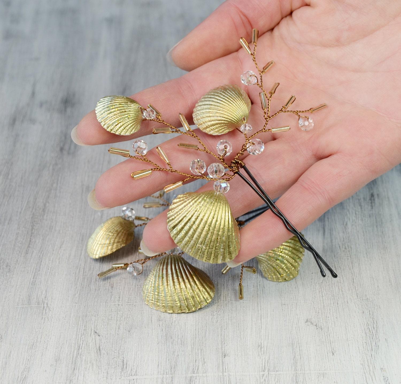 Beach Wedding Bridal Hair Pins Mermaid Hair Pins Gold Sea