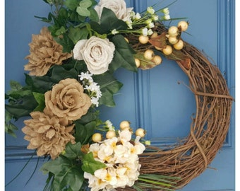 "Spring Has Sprung 18"" Grapevine Wreath! Perfect Gift for Mom, Grandma, Sister, Wedding, Birthday!"
