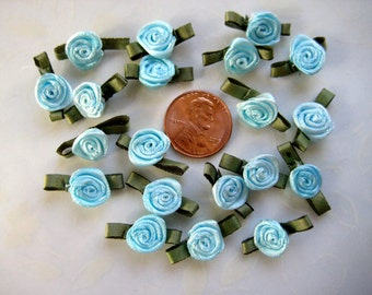 30 pcs Small Blue Satin Ribbon Flower Appliqués with Green Leaves for Crafting, Sewing, Doll Clothes, Embellishment - 0.75 inch / 2 cm