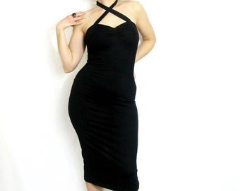 Black stretch jersey halter or cross strap wiggle dress made to measure rockabilly pin up