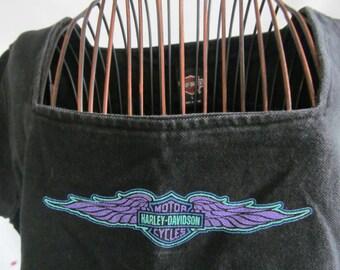 sz L Purple Teal 80s Harley Davidson Shirt Women Embroidered Harley Davidson Motorcycle Shirt Harley NH Dealer Biker  Harley Womens  Wings