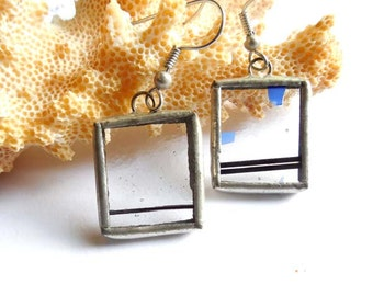 Clear Confetti Stained Glass Earrings