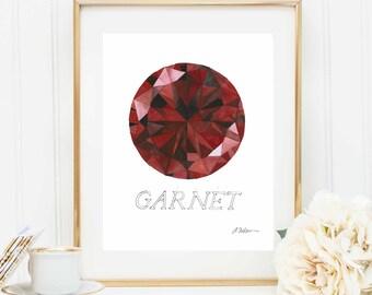 Garnet Watercolor Rendering printed on Paper