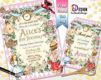 10% OFF Alice in Wonderland Birthday Invitation, Alice in wonderland invitation printable, Alice in Wonderland Invites Vintage