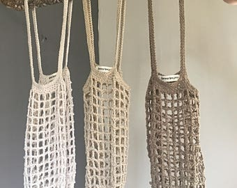 Crochet Mesh market bag, hand knitted crochet, red bag, reutulizable, Madioambiente, Katia Coton, you can choose your favorite color!!