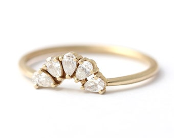 Pear Cut Diamond Wedding Ring, Pear Engagement Ring, Diamond Cluster Ring, Cluster Engagement Ring, Multi Stone Ring, Diamond Flower Ring