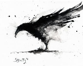 Giclee print on matte canvas - 8x12in or 16x12in A4 A3 - rolled canvas  - abstract raven 2