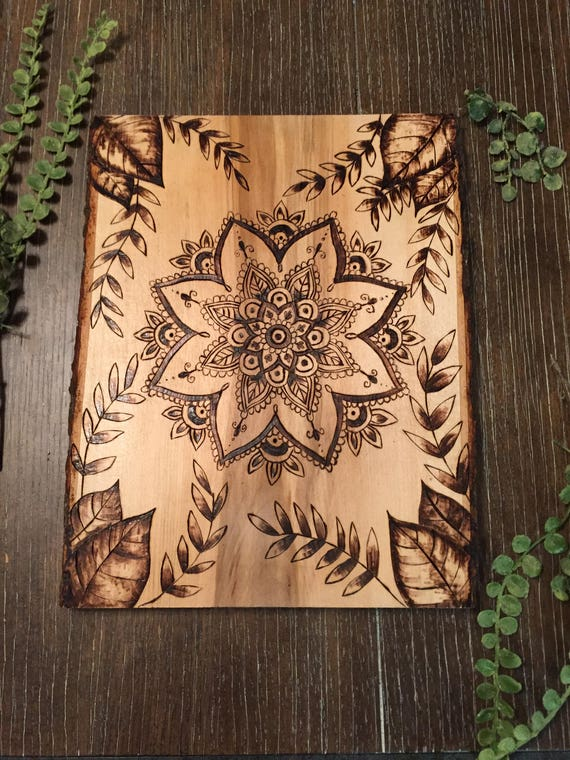 Mandala Wood Burning Art Pyrography Leaves